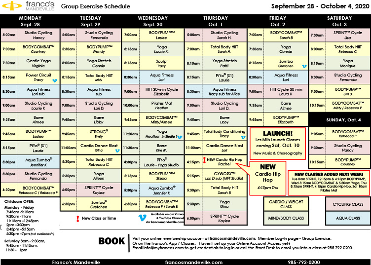 Sept. 28-Oct. 4 Group Exercise Schedule