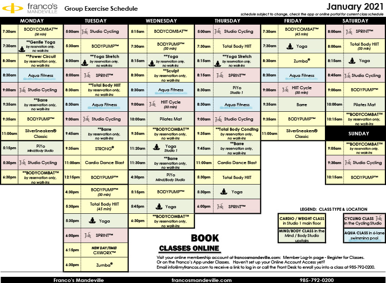 January Group Exercise Schedule